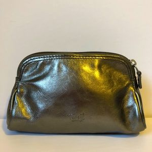 FOSSIL cowhide leather graphite pouch EUC
